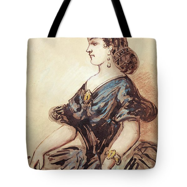 Half Length Portrait Of A Woman Wc And Ink On Paper Tote Bag