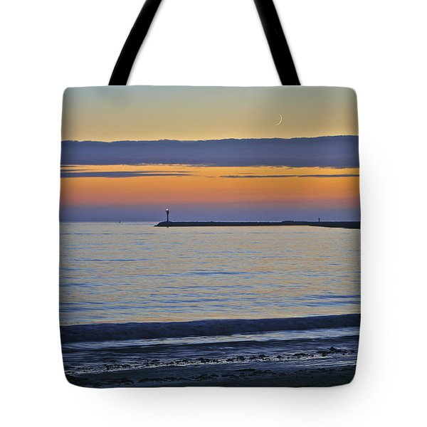 Half Moon Bay Under The Moon At Sunset Tote Bag