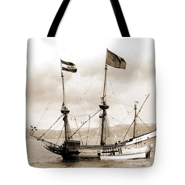 Half Moon Re-entered Hudson River After An Absence Of 300 Years In Sepia Tone Tote Bag