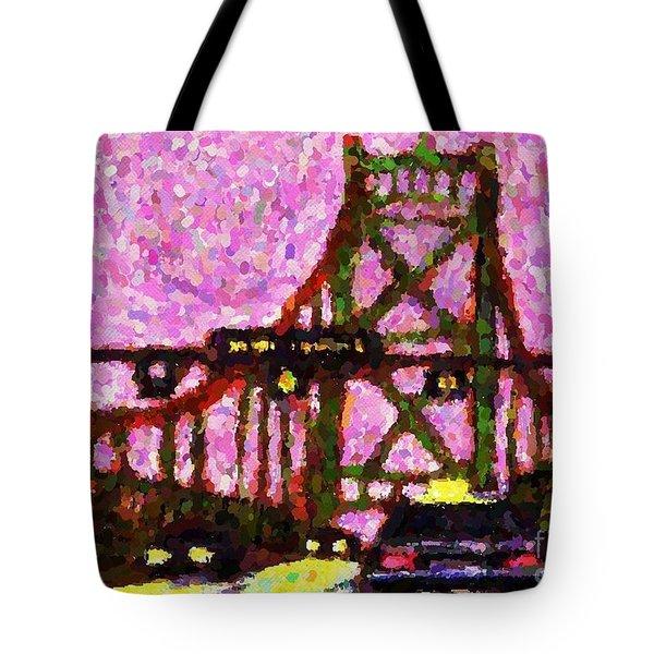 Halifax Macdonald Bridge Pointillist Tote Bag by John Malone