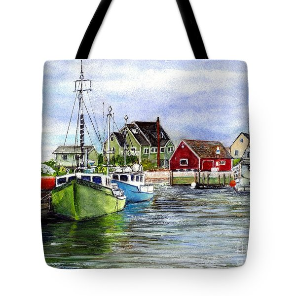Peggys Cove Nova Scotia Watercolor Tote Bag