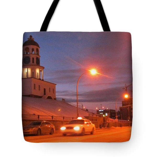 Halifax Town Clock In Halifax Nova Scotia Tote Bag by Halifax photographer John Malone