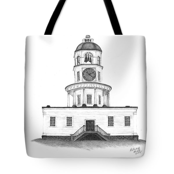 Tote Bag featuring the drawing Halifax Town Clock by Patricia Hiltz