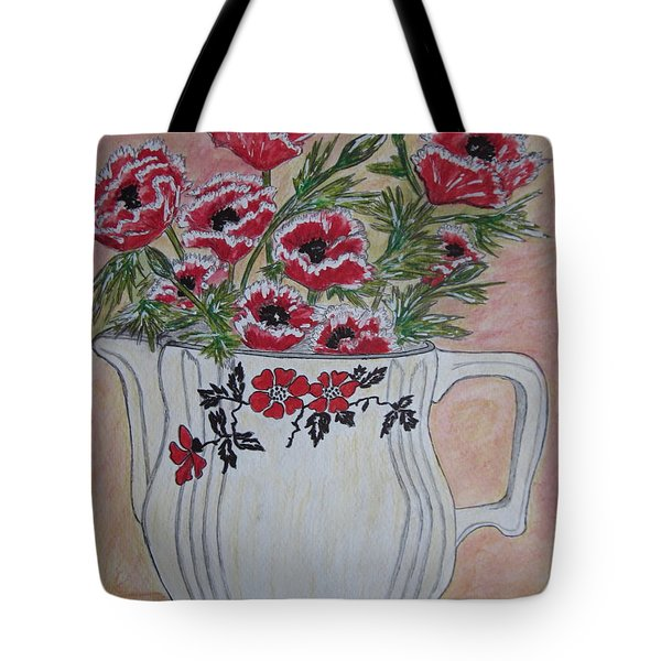 Hall China Red Poppy And Poppies Tote Bag by Kathy Marrs Chandler