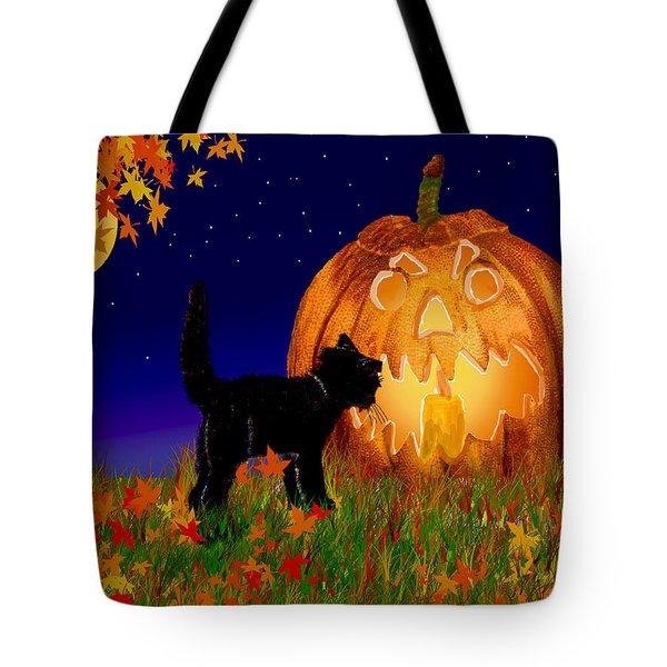 Halloween Black Cat Meets The Giant Pumpkin Tote Bag