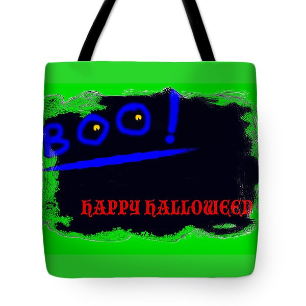 Tote Bag featuring the digital art Halloween Boo by Christopher Rowlands