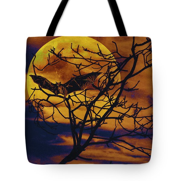Tote Bag featuring the painting Halloween Full Moon Terror by David Mckinney