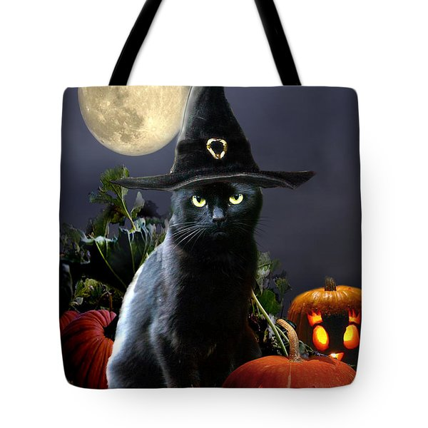 Witchy Black Halloween Cat Tote Bag