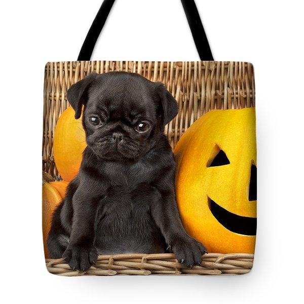 Halloween Pug Tote Bag by Greg Cuddiford