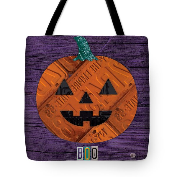 Halloween Pumpkin Holiday Boo License Plate Art Tote Bag by Design Turnpike