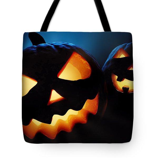 Halloween Pumpkins Closeup -  Jack O'lantern Tote Bag by Johan Swanepoel