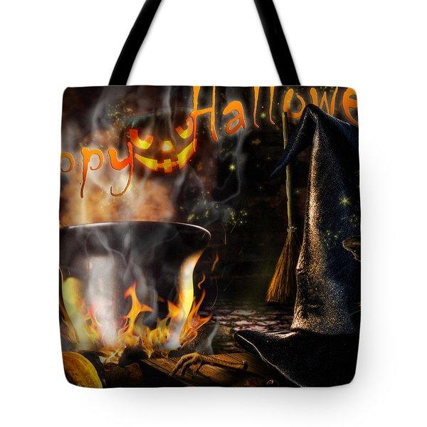 Halloween' Spirit Greeting Card Tote Bag
