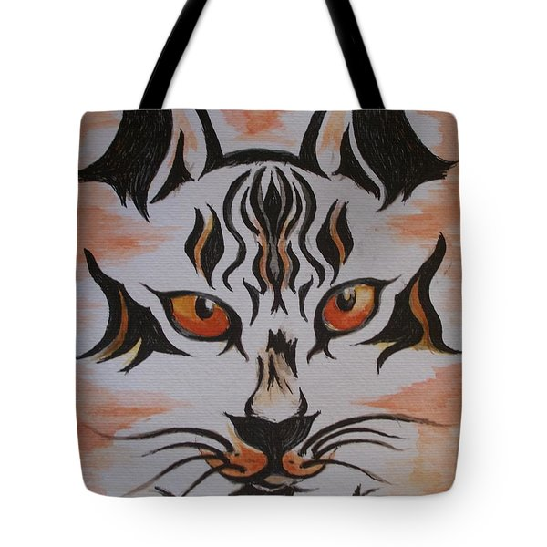 Tote Bag featuring the painting Halloween Wild Cat by Teresa White