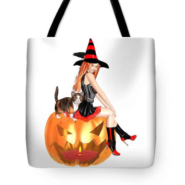 Halloween Witch Nicki With Kitten Tote Bag by Renate Janssen
