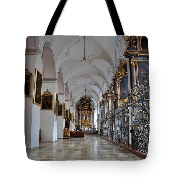 Tote Bag featuring the photograph Hallway Of A Church Munich Germany by Imran Ahmed
