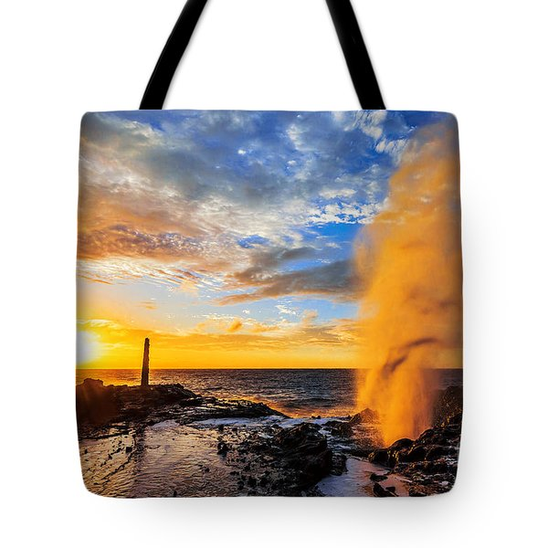 Tote Bag featuring the photograph Halona Blowhole At Sunrise by Aloha Art