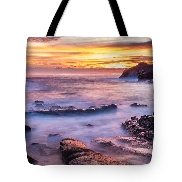 Halona Cove Sunrise 3 Tote Bag by Leigh Anne Meeks