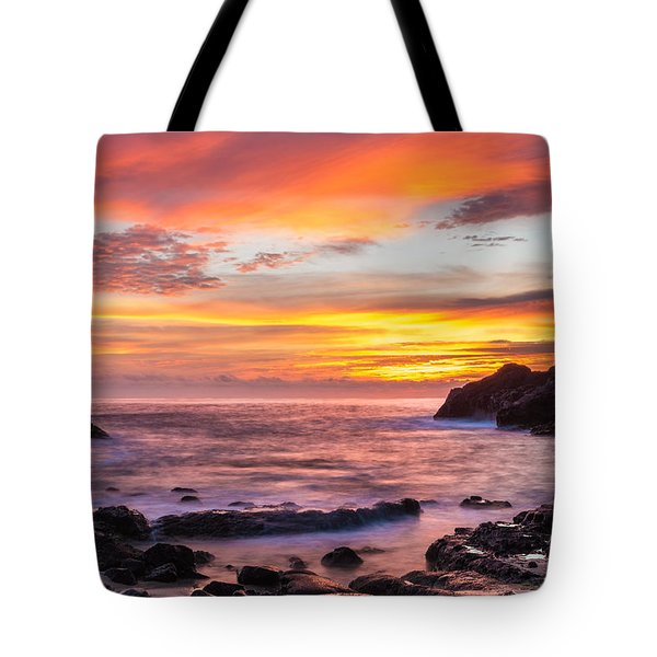 Halona Cove Sunrise 4 Tote Bag by Leigh Anne Meeks
