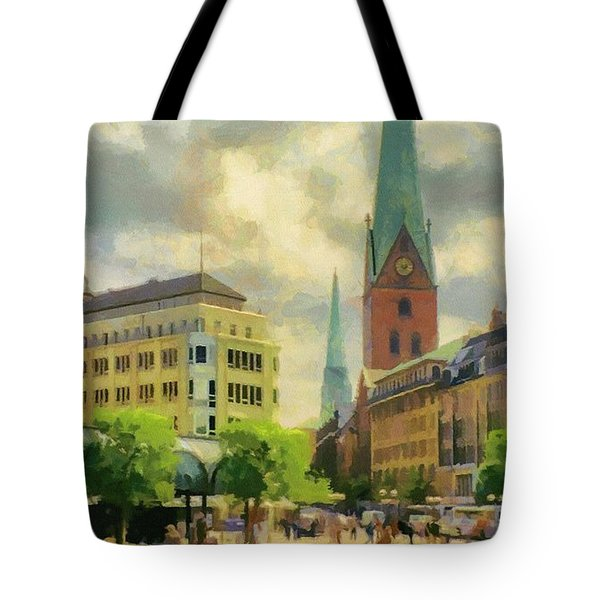 Hamburg Street Scene Tote Bag by Jeffrey Kolker