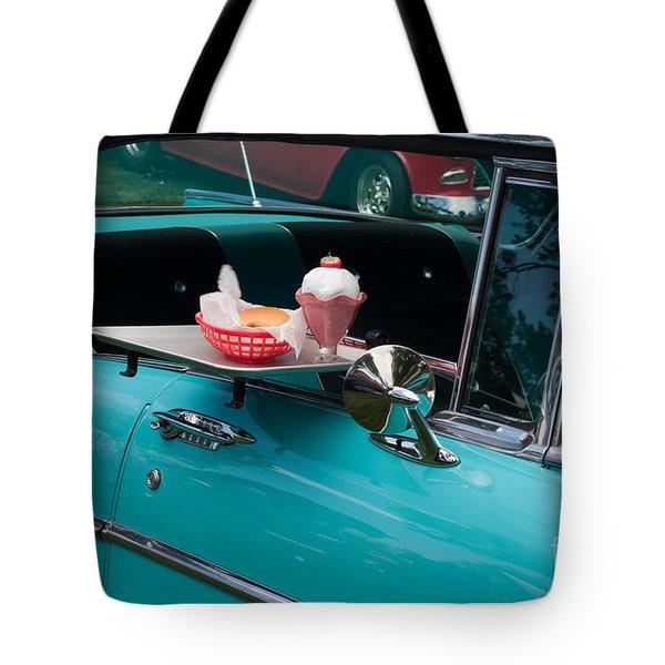 Tote Bag featuring the photograph Hamburger Drive In Classic Car by Gunter Nezhoda