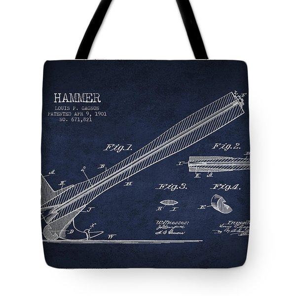 Hammer Patent Drawing From 1901 Tote Bag by Aged Pixel