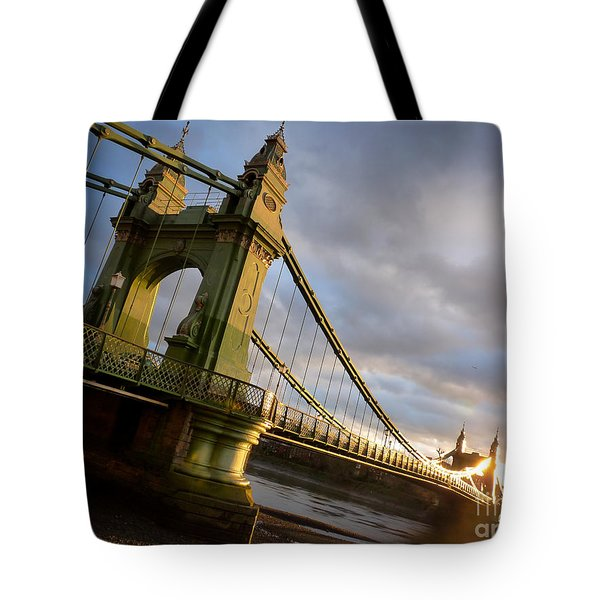 Tote Bag featuring the photograph Hammersmith Bridge In London by Peta Thames