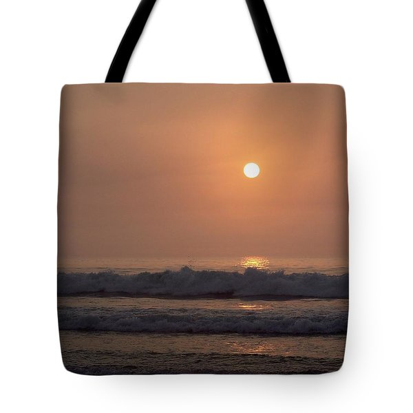 Hampton Beach In Morning Fog Tote Bag by Eunice Miller