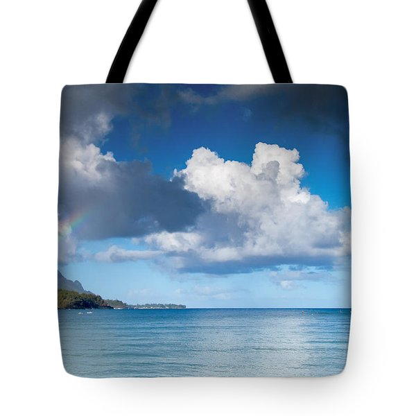 Hanalei Bay And Rainbow Tote Bag
