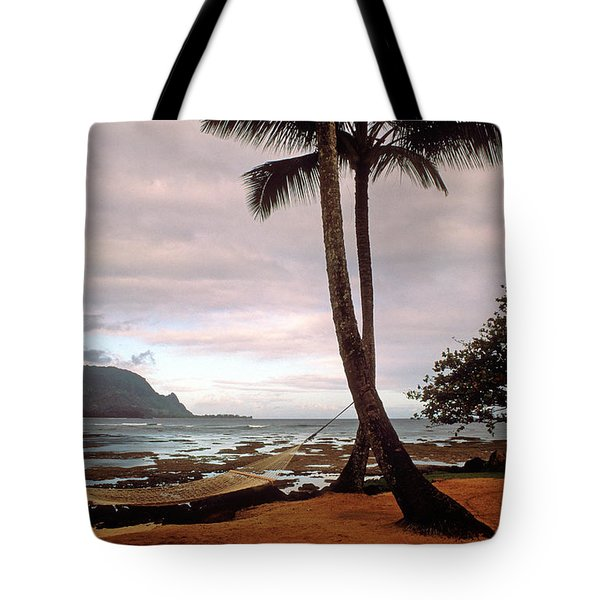 Hanalei Bay Hammock At Dawn Tote Bag by Kathy Yates