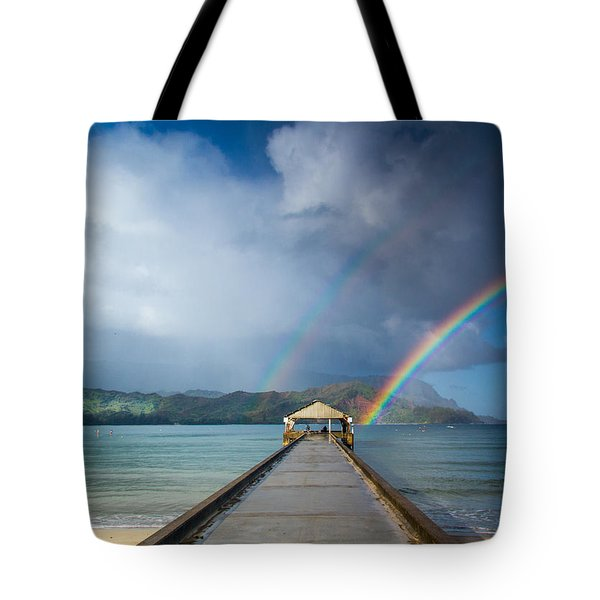 Hanalei Bay Pier And Double Rainbow Tote Bag