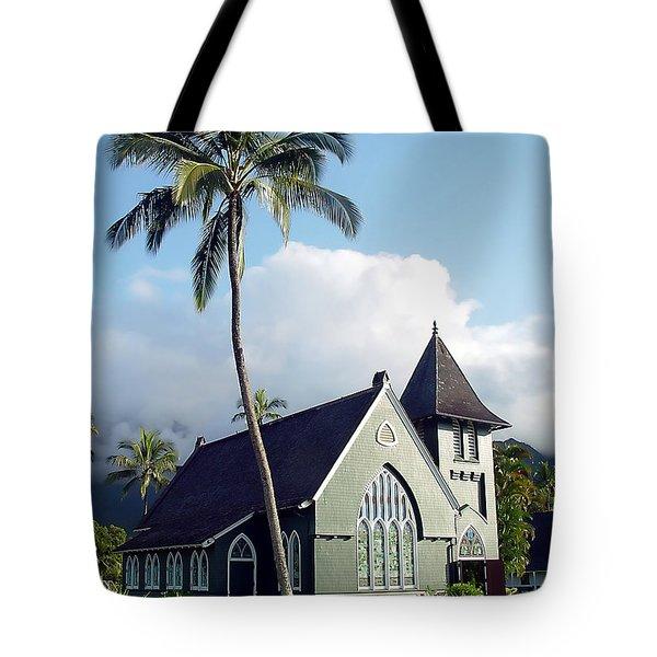 Hanalei Church 2 Tote Bag by John Bushnell