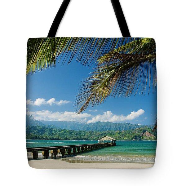 Hanalei Pier And Beach Tote Bag