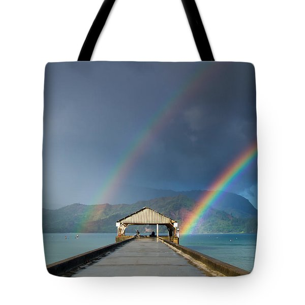 Hanalei Pier And Double Rainbow Tote Bag