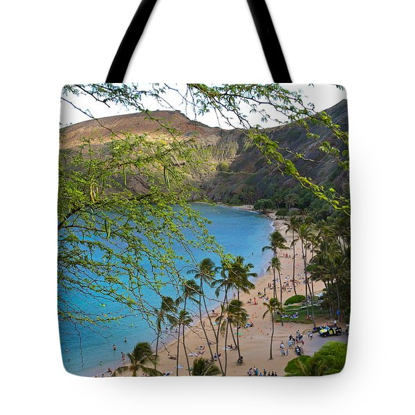 Hanauma Bay Nature Preserve Beach Through Monkeypod Tree Tote Bag