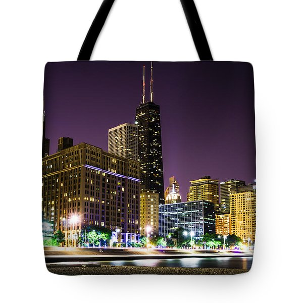 Hancock Building With Dusk Chicago Skyline Tote Bag by Paul Velgos