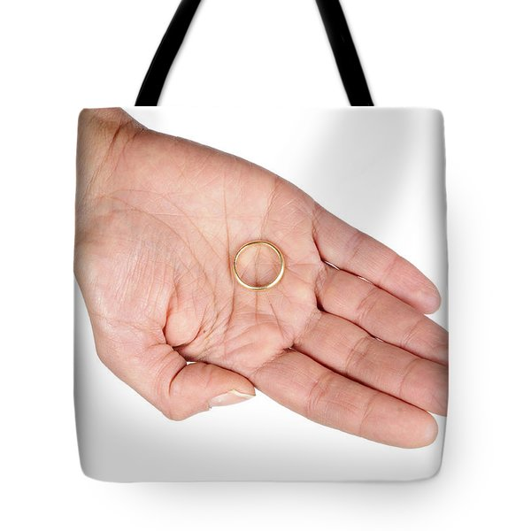 Hand Of A Woman With Wedding Ring Tote Bag by Matthias Hauser
