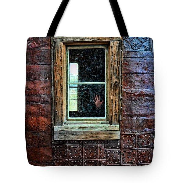 Hand On Old Window Tote Bag by Jill Battaglia