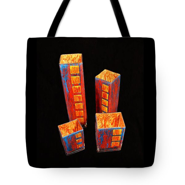 Hand Painted Glass Set Of Four Reds Tote Bag