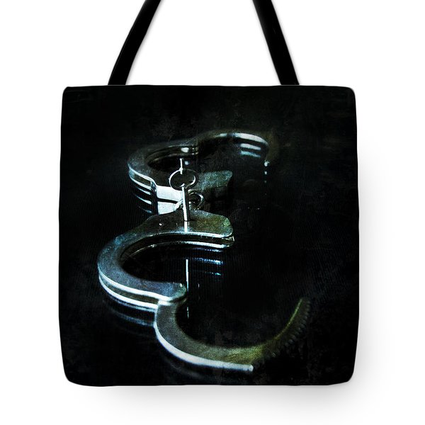 Handcuffs On Black Tote Bag by Jill Battaglia