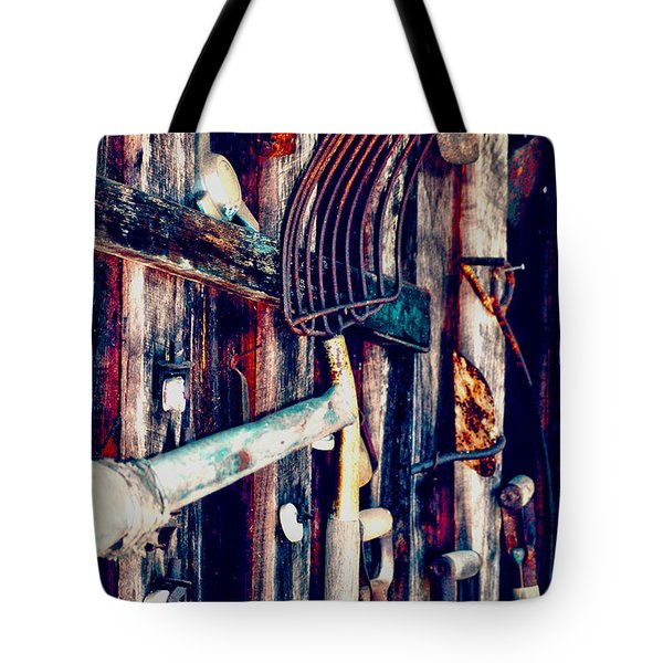 Tote Bag featuring the photograph Handles And The Pitchfork by Lesa Fine