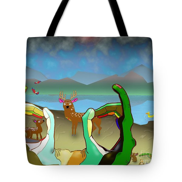 Hands And Deer Tote Bag