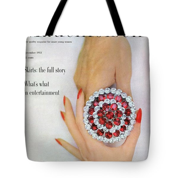 Hands Holding A Coro Rhinestone Pin Tote Bag