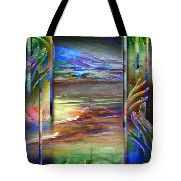 Hands-prisoned Tote Bag by Allison Ashton