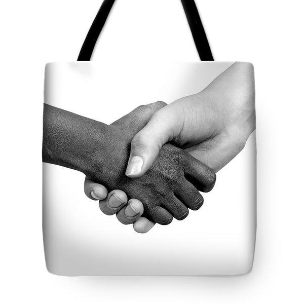 Handshake Black And White Tote Bag