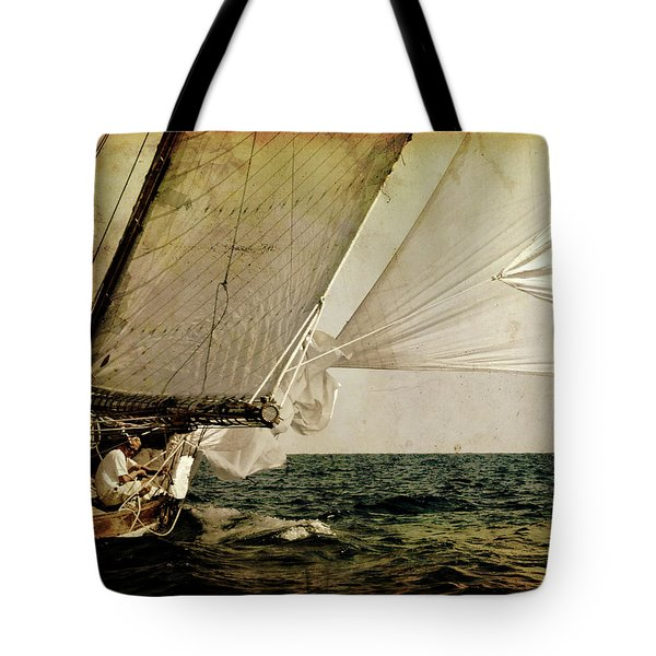 Tote Bag featuring the photograph Hanged On Wind In A Mediterranean Vintage Tall Ship Race  by Pedro Cardona