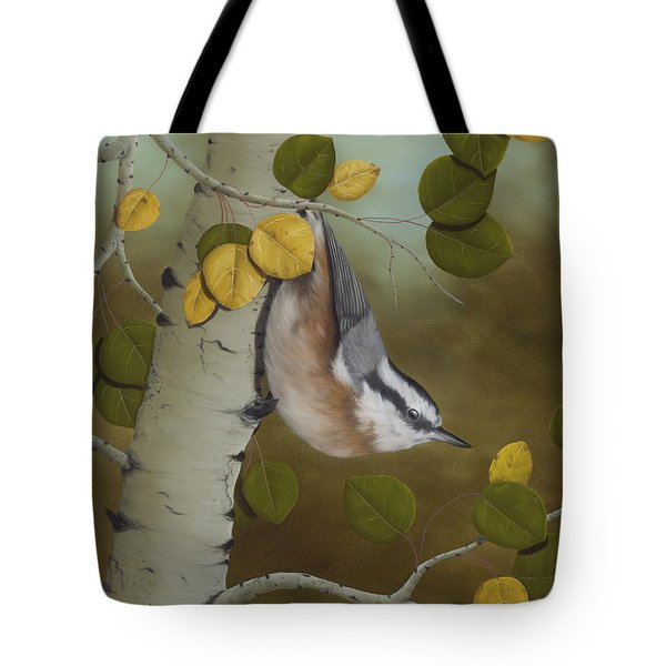 Hanging Around-red Breasted Nuthatch Tote Bag by Rick Bainbridge
