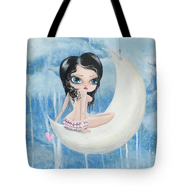 Hanging On The Moon Tote Bag by Oddball Art Co by Lizzy Love