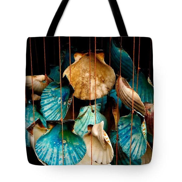 Tote Bag featuring the photograph Hanging Together - Sea Shell Wind Chime by Steven Milner