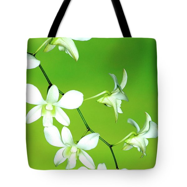 Hanging White Orchids Tote Bag
