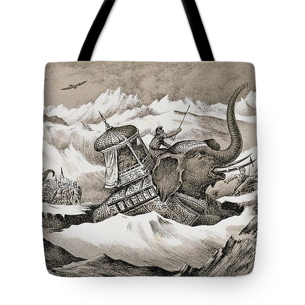 Hannibal And His War Elephants Crossing Tote Bag